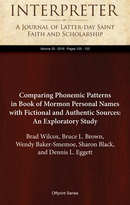 Comparing Phonemic Patterns in Book of Mormon Personal Names with Fictional and Authentic Sources: An Exploratory Study