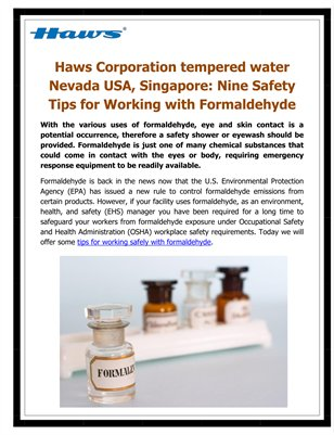 Haws Corporation tempered water Nevada USA, Singapore: Nine Safety Tips for Working with Formaldehyde