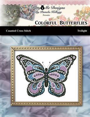 Colorful Butterflies Twilight Counted Cross Stitch Pattern