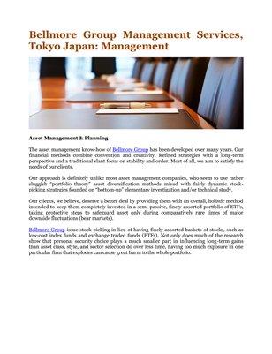 Bellmore Group Management Services, Tokyo Japan: Management