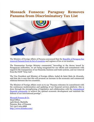 Mossack Fonseca: Paraguay Removes Panama from Discriminatory Tax List