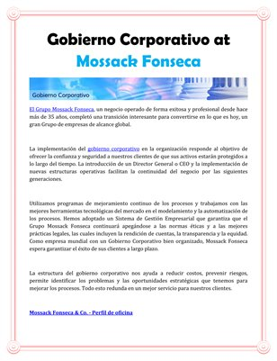 Gobierno Corporativo at Mossack Fonseca
