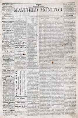 (PAGES 1-2) JULY 24th, 1880 MAYFIELD MONITOR NEWSPAPER, MAYFIELD, GRAVES COUNTY, KENTUCKY
