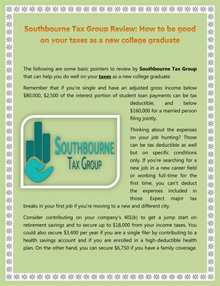 Southbourne Tax Group Review: How to be good on your taxes as a new college graduate