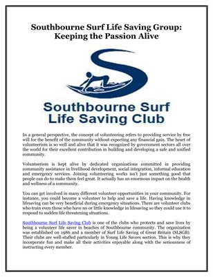 Southbourne Surf Life Saving Group: Keeping the Passion Alive