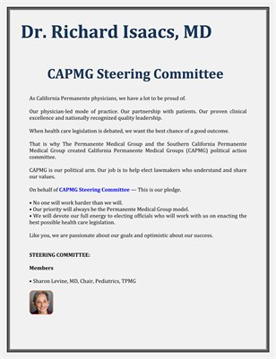 CAPMG Steering Committee - Dr. Richard Isaacs, MD