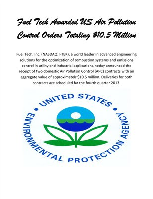 Fuel Tech Awarded US Air Pollution Control Orders Totaling $10.5 Million