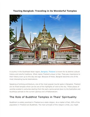 New Publication (3)Touring Bangkok: Traveling in its Wonderful Temples