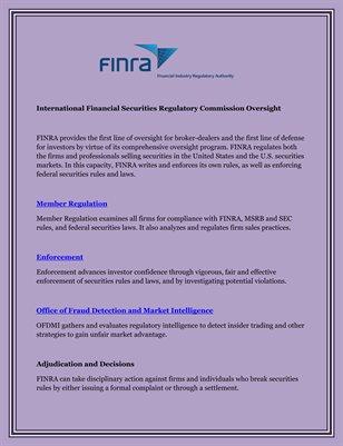 International Financial Securities Regulatory Commission: Oversight