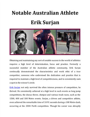 Notable Australian Athlete Erik Surjan