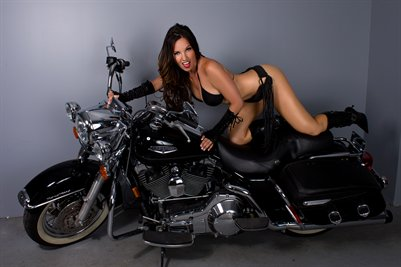 Nicole Ferreira Model on Motorcycle