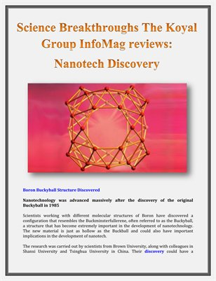 Science Breakthroughs The Koyal Group InfoMag Reviews: Nanotech Discovery