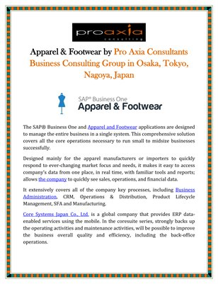 Apparel & Footwear by Pro Axia Consultants Business Consulting Group in Osaka, Tokyo, Nagoya, Japan