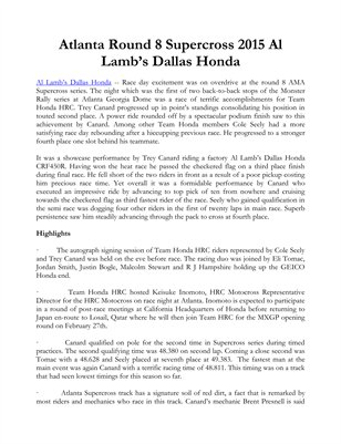 Atlanta Round 8 Supercross 2015 Al Lamb's Dallas Honda