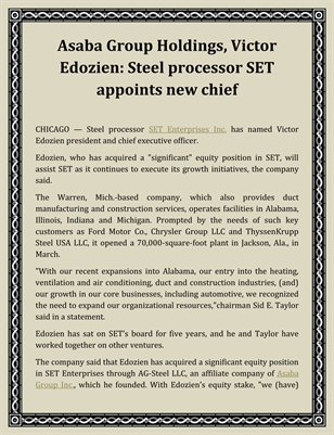 Asaba Group Holdings, Victor Edozien: Steel processor SET appoints new chief