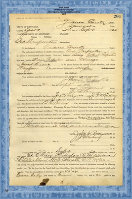 1924 State of Kentucky vs. Ora Carpenter, Graves County, Kentucky