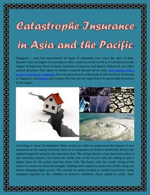 Catastrophe Insurance in Asia and the Pacific