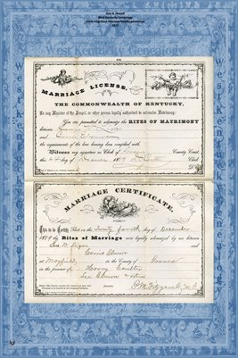 1889 Geo. W. Ligon and Carrie Elmore Marriage Cert & License