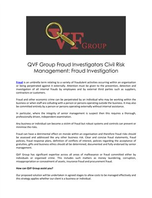 QVF Group Fraud Investigators Civil Risk Management: Fraud Investigation