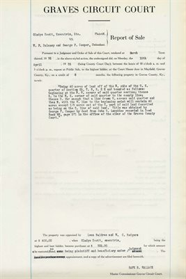 1935 COMMISSIONERS REPORT OF SALES, GLADYS SCOTT, W.P. DULANEY, GEORGE F. COOPER