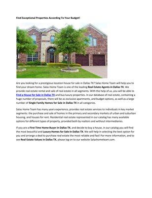 Dallas Real Estate Dallas Tx