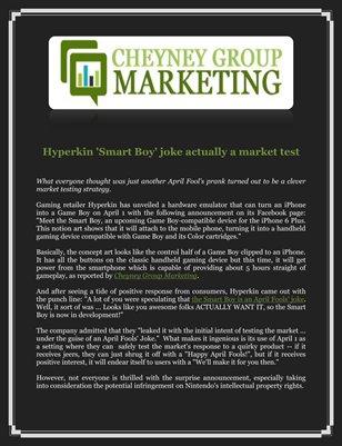 Cheyney Group Marketing: Hyperkin 'Smart Boy' joke actually a market test