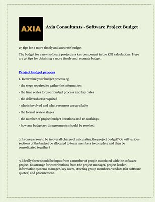 Axia Consultants - Software Project Budget