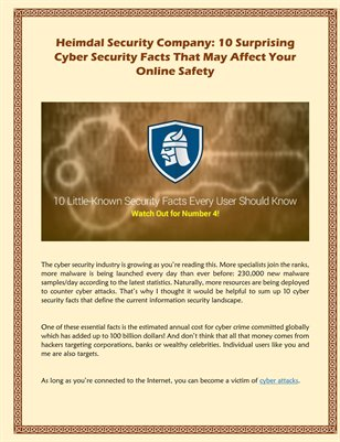 Heimdal Security Company: 10 Surprising Cyber Security Facts That May Affect Your Online Safety