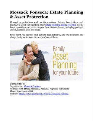 Mossack Fonseca: Estate Planning & Asset Protection