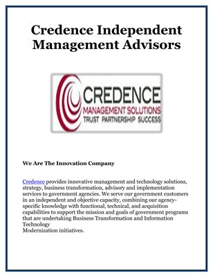 Credence Independent Management Advisors
