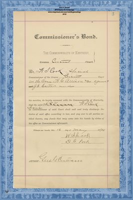 1890 COMMISSIONERS BOND, W.S. COOK, GRAVES COUNTY, KY