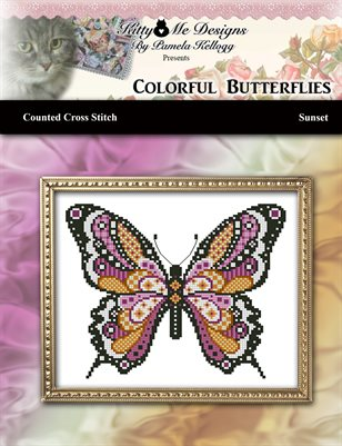 Colorful Butterflies Sunset Counted Cross Stitch Pattern
