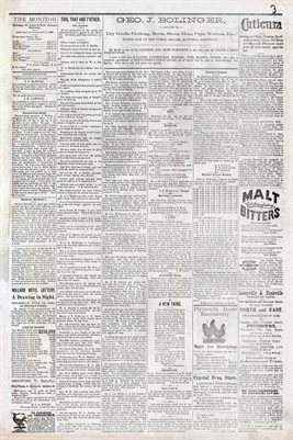 (PAGES 3-4) MAY 14TH, 1881 MAYFIELD MONITOR NEWSPAPER, MAYFIELD, GRAVES COUNTY, KENTUCKY