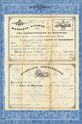 1892 Marriage License and Certificate for P.R. Nolen & Miss Mary McMickle, Graves County, Kentucky