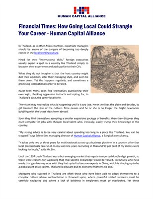 Financial Times: How Going Local Could Strangle Your Career - Human Capital Alliance