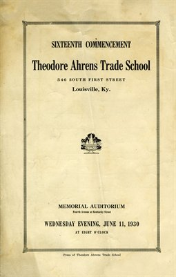 1930 16th Commencement Theodore Ahrens Trade School, Louisville, Ky