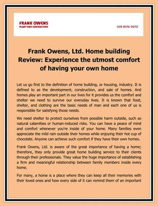 Frank Owens, Ltd. Home building Review: Experience the utmost comfort of having your own home