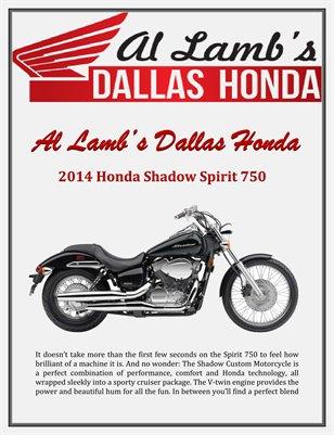 Al Lamb's Dallas Honda: 2014 Honda Shadow Spirit 750