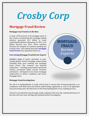 Crosby Corp: Mortgage Fraud Review
