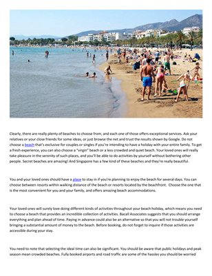 Beach holiday tips from Bacall Associates