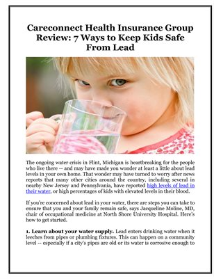 Careconnect Health Insurance Group Review: 7 Ways to Keep Kids Safe From Lead
