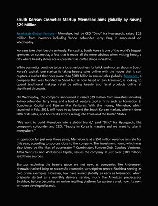 SparksLab Global Venture, Memebox aims globally by raising $29 Million