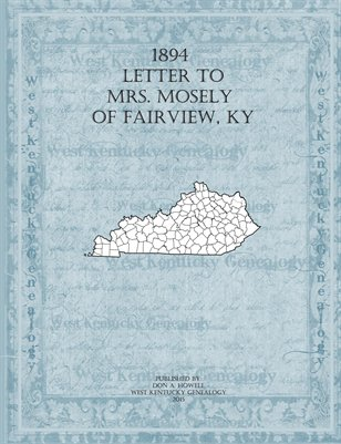 1894 Letter to Mrs. N.D. Mosely, Fairview, Todd County, Kentucky