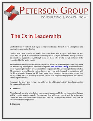 The Peterson Group LLC: The Cs in Leadership