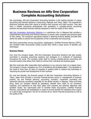 Business Reviews on Alfa One Corporation Complete Accounting Solutions
