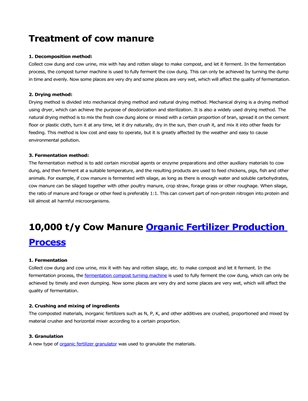 10,000 t/y of cow manure organic fertilizer production process and equipment
