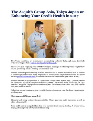 The Asquith Group Asia, Tokyo Japan on Enhancing Your Credit Health in 2017