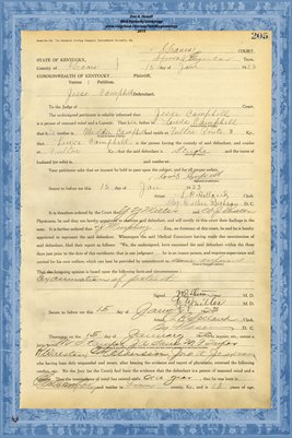 1923 State of Kentucky vs. Jesse Campbell, Graves County, Kentucky
