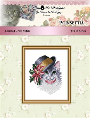 Poinsettia Cat In Hat Cross Stitch Pattern