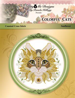 Colorful Cats Sunflower Counted Cross Stitch Pattern